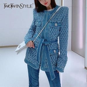 Image 1 - TWOTWINSTYLE Streetwear חלול את ג ינס נשים של מעילי O צוואר ארוך שרוול כיס תחרה עד מעיל נשי סתיו אופנה חדש 2020