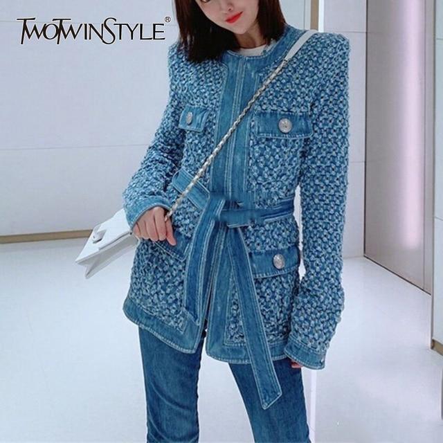 TWOTWINSTYLE Streetwear חלול את ג ינס נשים של מעילי O צוואר ארוך שרוול כיס תחרה עד מעיל נשי סתיו אופנה חדש 2020