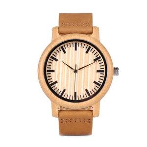 Image 5 - BOBO BIRD Casual drewniany zegarek mężczyźni bambusowe zegarki kwarcowe z skórzane paski relojes mujer marca de lujo z szkatułce