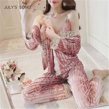 JULYS SONG Velvet Pajamas Set Autumn Winter Warm Women Sexy Pajamas Sleepwear Sleeveless Strap Nightwear Long Pants Homewear
