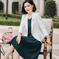 Blazer Dress Suit Woman 2020 Spring High Quality White Jacket Green Knee Length Dress women 2 Piece Set Femme Work Clothes