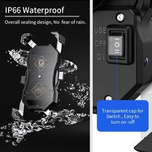 Image 4 - 오토바이 핸드폰 홀더, 15W 무선 스마트 충전, QC3.0 와이어 중전, 2 in 1 반자동 스탠드 360도 회전 브래킷