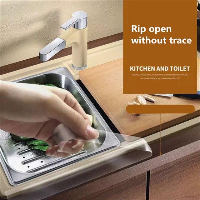 주방 싱크 방수 곰팡이 강한 자기 접착 투명 테이프 욕실 욕실 갭 스트립 풀 워터 씰 0.8mm