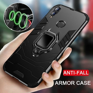 Armored Shockproof PC Case For Huawei Honor 9X 8X 8A 8i V10 V20 V30 20 10 Lite Pro Paly3 Y7 Y9 Prime 2019 cover With Holder Ring(China)
