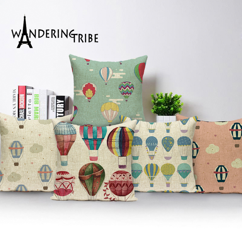 Federe Cuscini Love.Cartoon Hot Air Balloon Decorative Cushion Pillow For Sofa Case