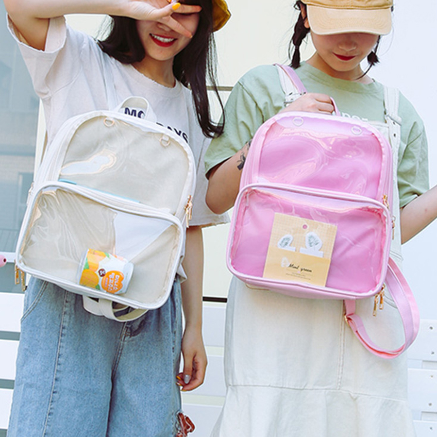 Clear Transparent Backpacks Women Cute Bow Ita School Bags Mini Pink Black Schoolbags For Teenage Girls Bookbags Women 2019 Hots