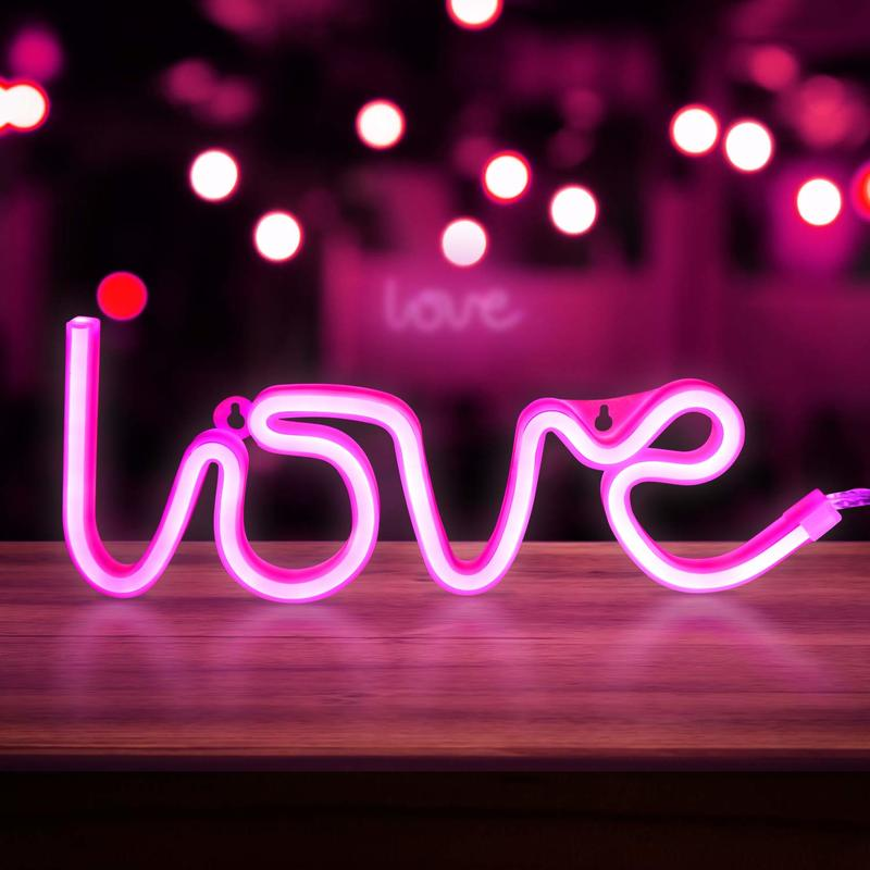 LED Neon Pink Love Signs For Wall Decor Neon Lights Home Party Bar Pub Hotel Beach Night Light Table Lamp With Battery Powered