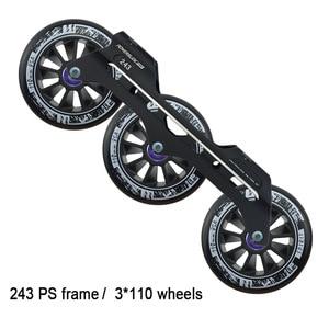 Powerslide Speed Inline Skates Base 243mm Frame 3*110mm Wheels Roller Skating Basin ILQ-11 Bearing Durable 85A Patines Tires