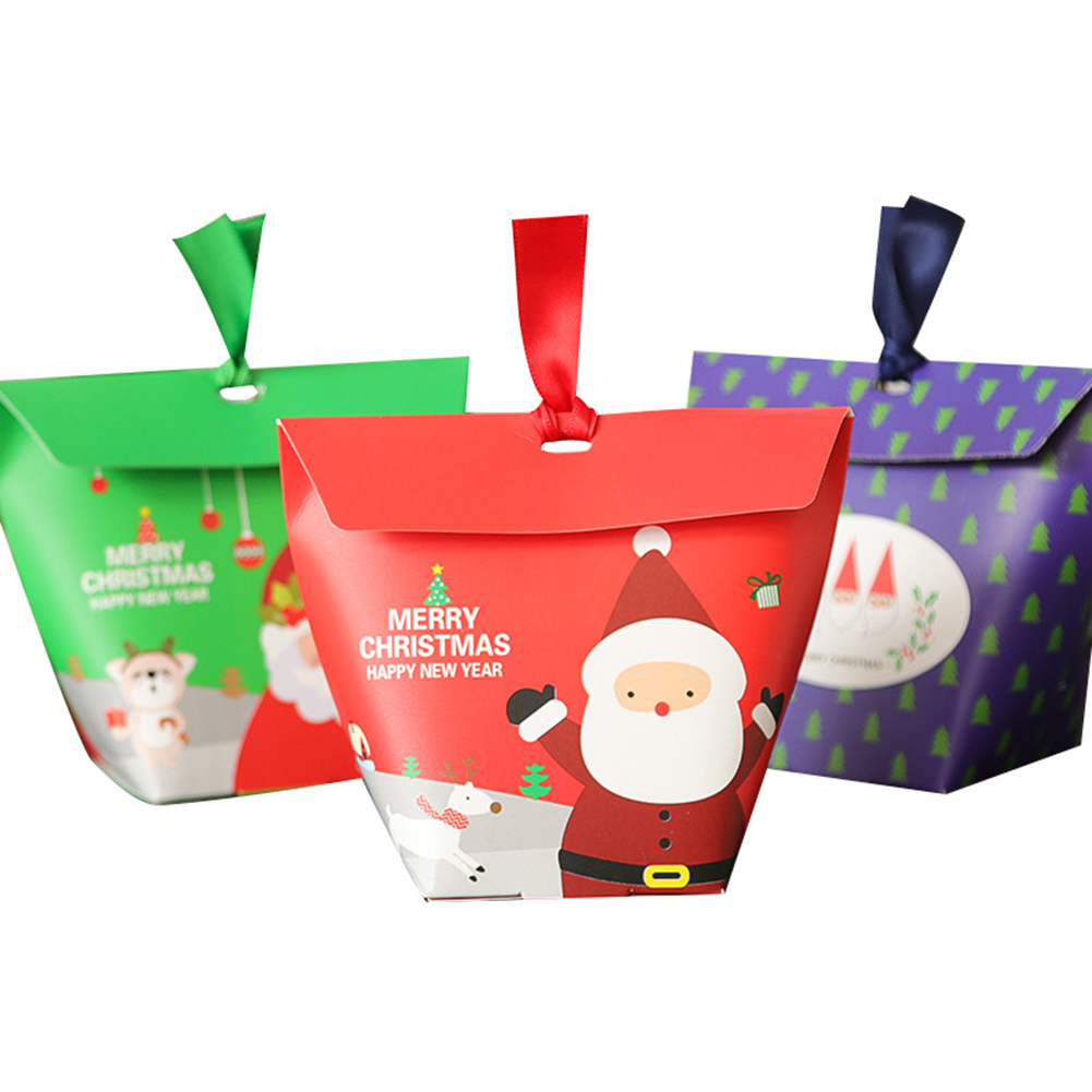 Christmas Candy Gift Boxes Santa Claus Merry Guests Packaging Boxes Gift Bag Christmas Party Chocolate Gift Paper Boxes 10Pcs
