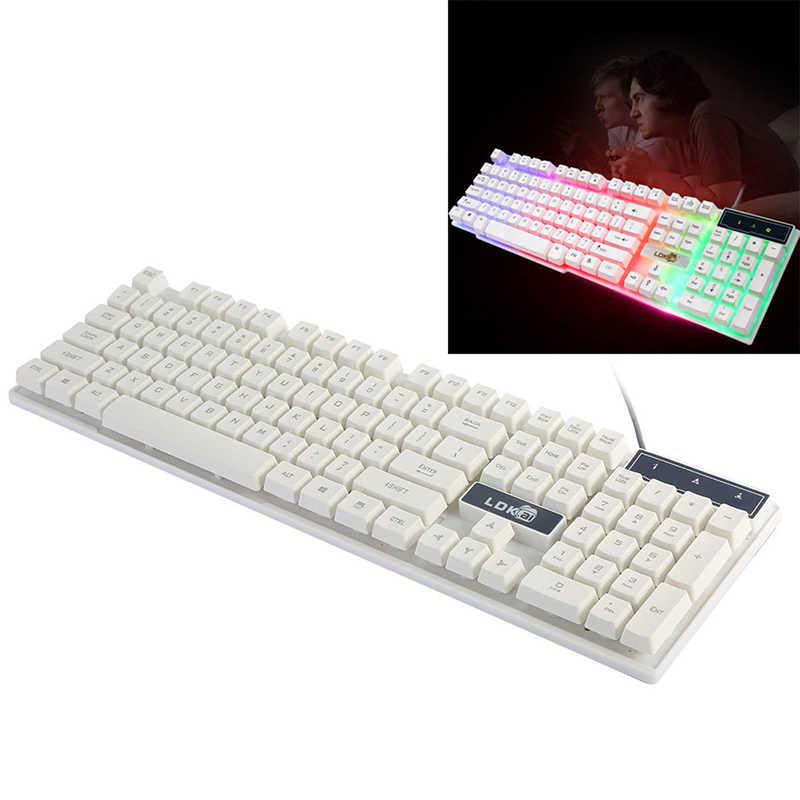 ミニスリム機械的な感触キーボードカラフルな Led 照光バックライトの Usb 有線 Pc レインボーゲームキーボード