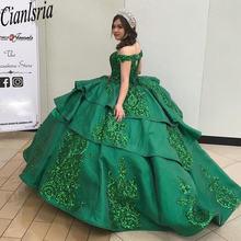 Изумрудно зеленое бальное платье vestidos de quinceanera платья
