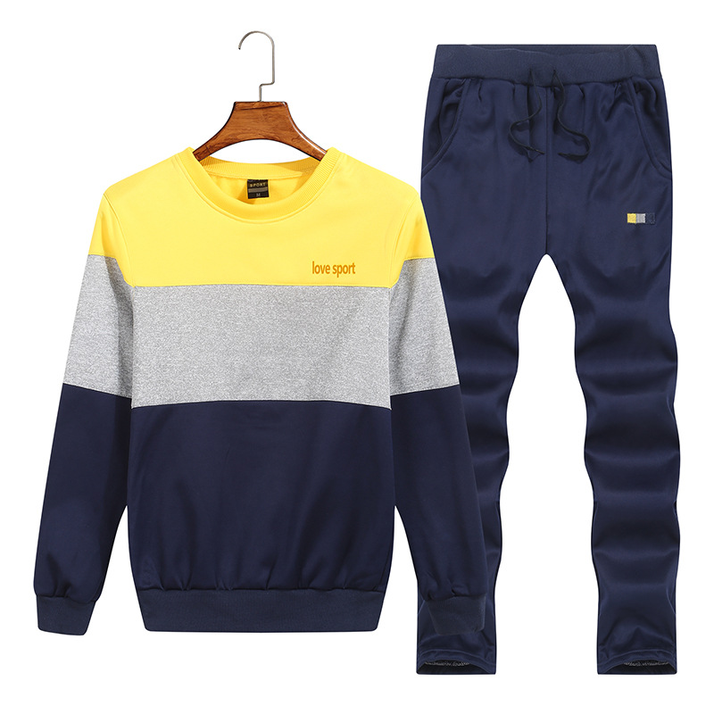 Cross Border For Spring And Autumn Crew Neck Pullover Leisure Sports Suit Men's Korean-style Trend Hoodie Pants Men'S Wear