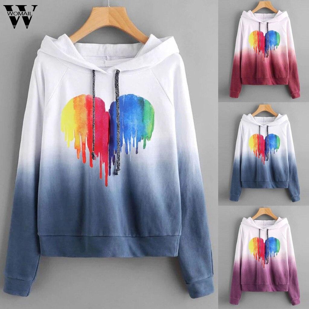 Womail Sweatshirts Women's Printed Gradient Color autumn Long Sleeves Hoodies Pullover Casual 2019 Mujer Women Sweatshirt S-XXL