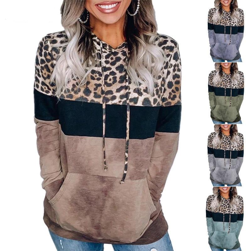 New Leopard Print Women Casual Sweatshirts Long Sleeve Oversize Hoodies Tops 2020 Autumn Winter Pullover Tops S-XXXL