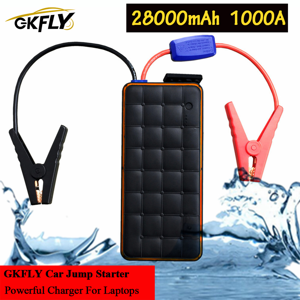GKFLY 1000A Waterproof Starting Device 28000mAh Car Jump Starter Power Bank 12V Car Battery Charger For Petrol 8.0L Diesel 6.0L