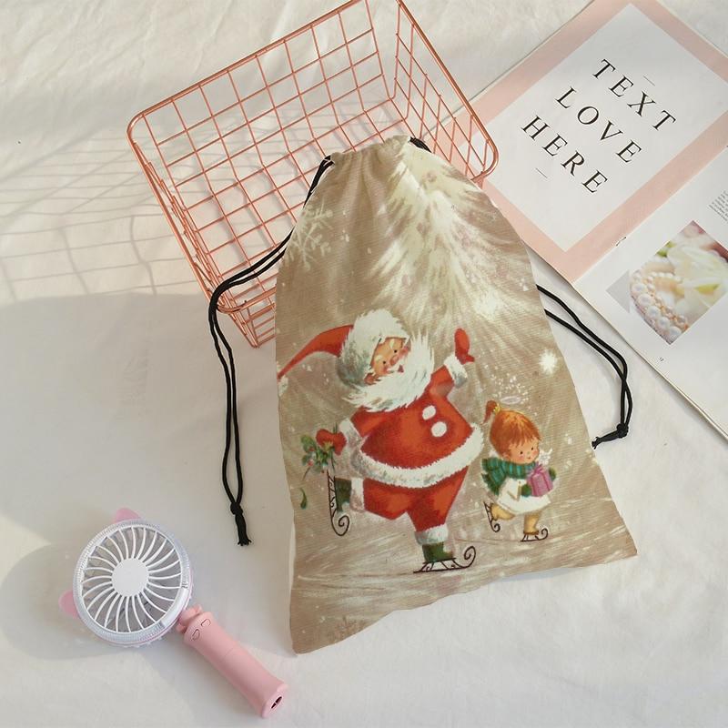 Crowdale 2019 Christmas 3D-printing Christmas Kriss Kringle Bundle Pocket Christmas Gift Pocket Drawstre Bag Santa Claus 32x40cm