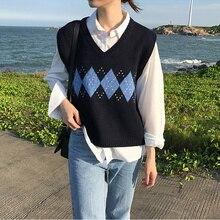 Женский пуловер без рукавов, осень, корейский консервативный стиль, винтажный, в клетку, v-образный вырез, вязаный свитер, жилет, черный, серый, хаки, T360