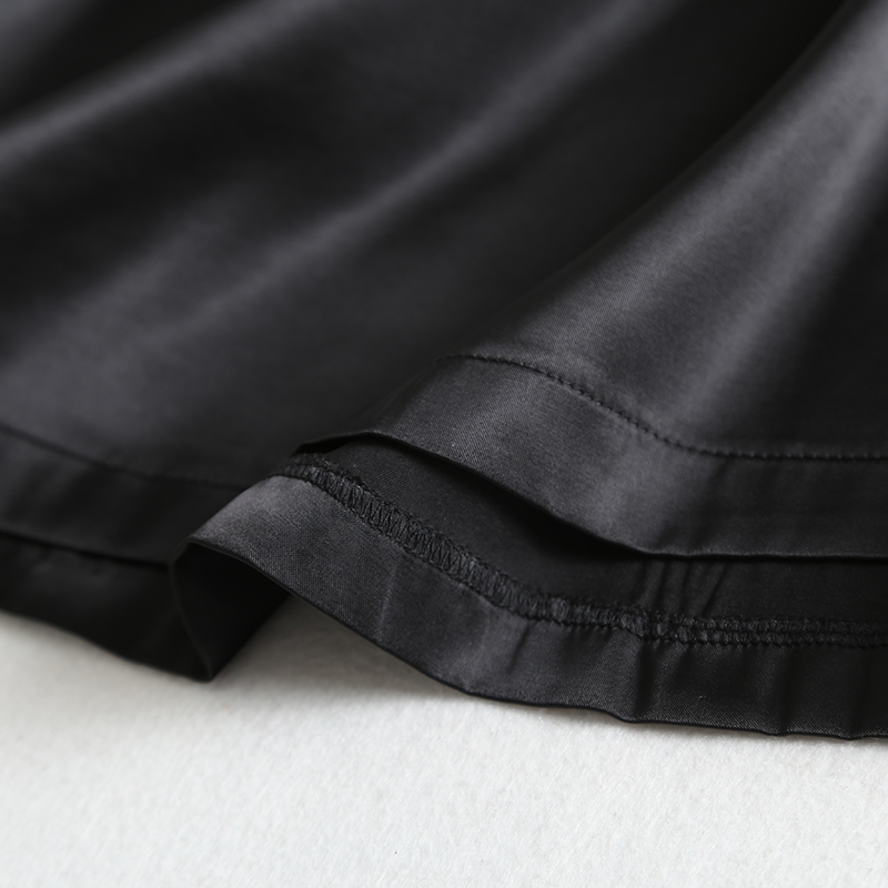 19 New Hot Women Luxury Mid-calf Long Soft Smooth Silk Satin Skirts Office Lady Hight Waist Glossy Silver Black Party Skirt 10