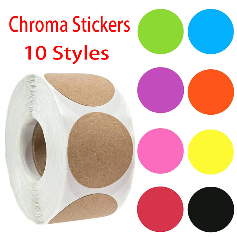 500 Pcs Per Roll Chroma Label Color Code Dot Labels Stickers 10 Styles Red, Green, White, Teacher Supplies Stationery Stickers
