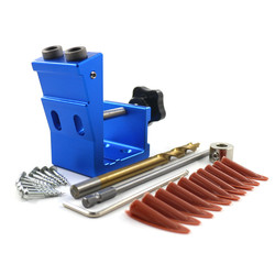 9.0mm Pocket Hole Puncher Jig Kit Angle Drill Guide Set For Wood Hole Saw Step Drill Bits Screwdriver Bit With Pocket Screws