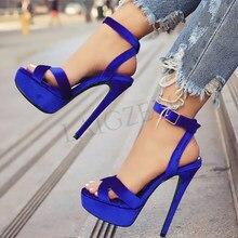 LAIGZEM – sandales à talons aiguilles en velours pour femmes, chaussures d'été, taille 48 50 52