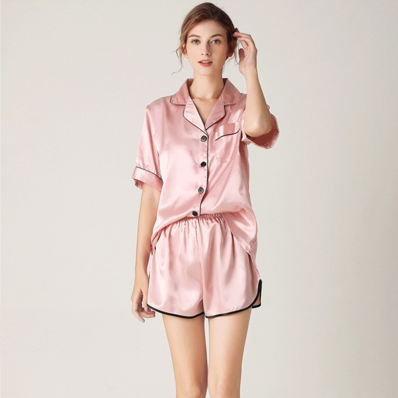 JULY'S SONG Women's Pajamas Sets Sleepwear Shorts  Elegant Solid Female Pyjamas Pink Faux Silk Nightwear V Neck Pockets Homewear