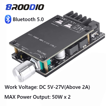TPA3116 Bluetooth 5.0 Amplifier Board Dual Channel 2*50W Mini Stereo Audio Receiver High Power Digital 3.5mm AUX HIFI Amplifier tpa3116 digital amplifier board bluetooth 4 2 high power 2 1 hifi subwoofer bass module