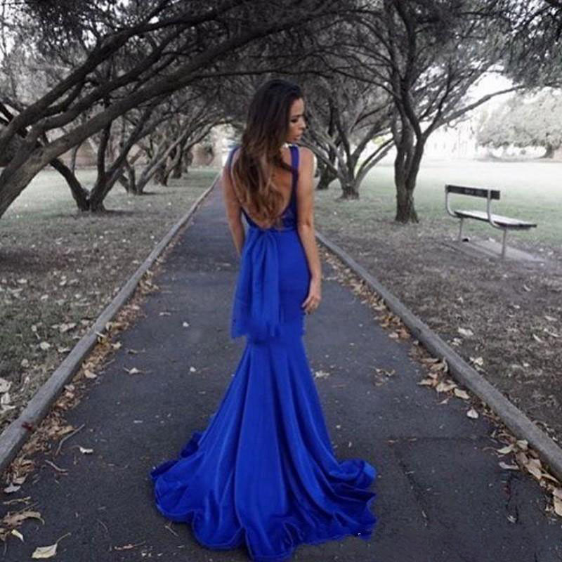 Robe de soiree Simple Royal Blue Mermaid Evening Dresses Sexy Backless Satin Long Formal Party Prom Gowns Gala Dress