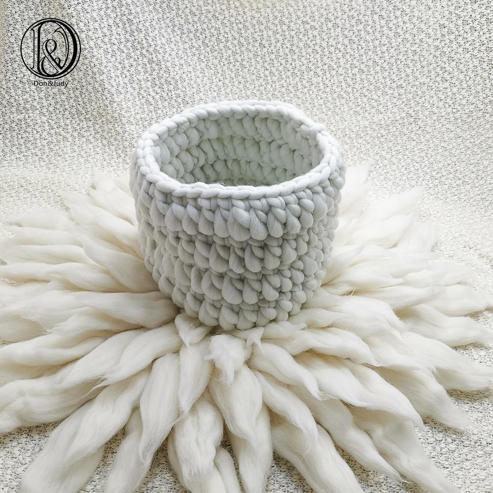 Don&Judy Basket Nest+ Wool Blanket +150*100cm Backdrop 3pcs/set Photo Newborn Blanket Background For Photo Shoot Prop
