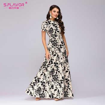 S.FLAVOR Women Long Dress Short Sleeve Floral Print Boho Dress Elegant Party Dress Slim Maxi  vestido de festa - DISCOUNT ITEM  51% OFF All Category