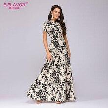 S.FLAVOR kobiety długa sukienka z krótkim rękawem kwiatowy Print sukienka Boho elegancka sukienka na imprezę Slim Maxi vestido de festa