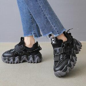 Image 3 - Baskets de luxe à plateforme épaisses pour femme, chaussures de 5cm, vulcanisées rehaussées, pour vieux papa, tennis à la mode, 43