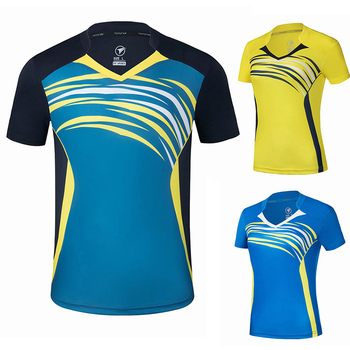 Nowe koszulki do badmintona mężczyźni kobiety Gym Running koszulki koszulki tenisowe koszulki do tenisa stołowego szybkie suche koszulki sportowe tanie i dobre opinie NAiMAi Poliester Krótki Przeciwzmarszczkowy Oddychające Anti-shrink Pasuje prawda na wymiar weź swój normalny rozmiar