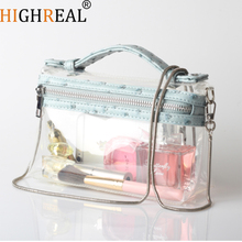 HIGHREAL Trendy Bag Small Clear Brand Designer Woman Messenger Chains Shoulder Transparent Square Handbag