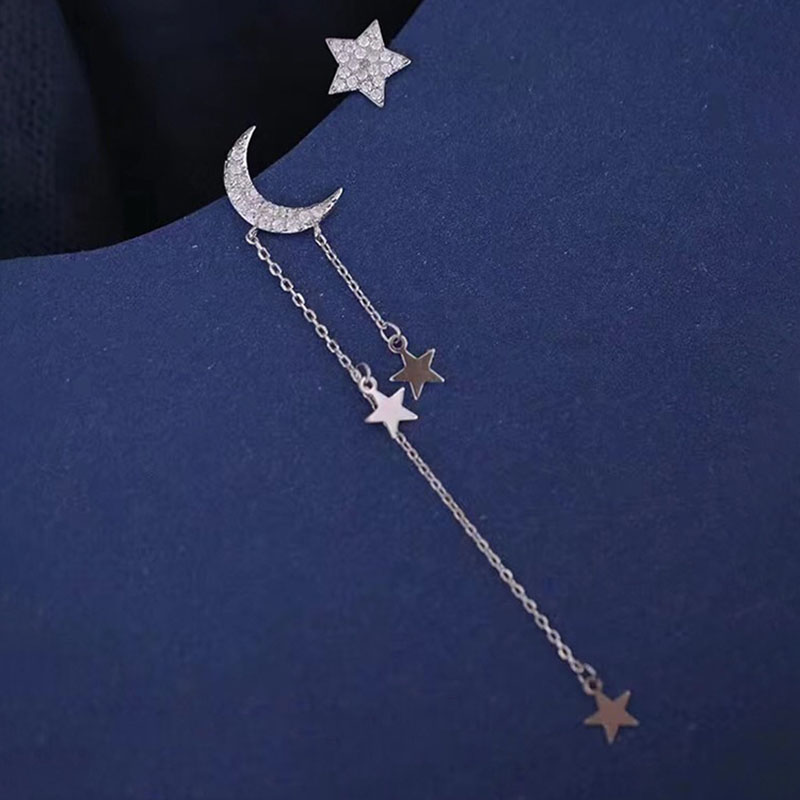 VILAGE Korean Creativity Moon Stars Tassel Earrings Charm Women Asymmetry Jewelry New Fashion Elegant Party Accessories Gift