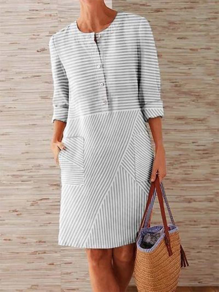 CAIDA Spring Cotton Linen Dress Fashion Button O-Neck Knee Party Dress Women Long Sleeve Pocket Solid Dresses 12