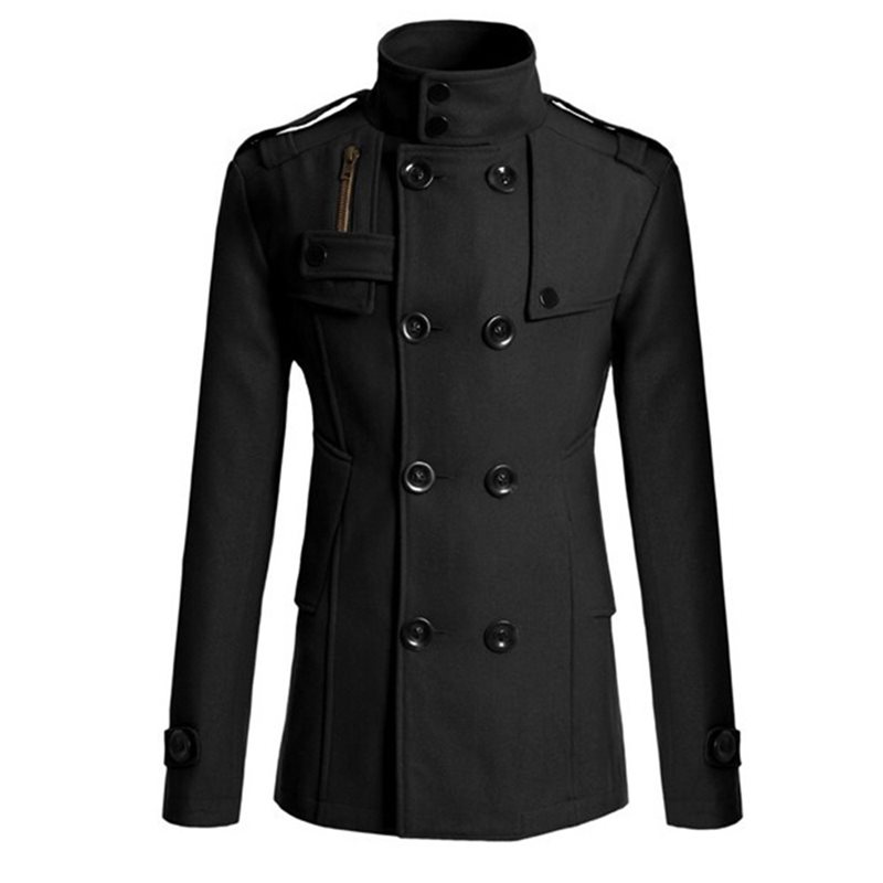 Black Trach Men's Tops 2019 Autumn Vintage Woolen Coat Black Men's Tops Plus Size Overcoat Slim Long Outwear Jacket Business Top