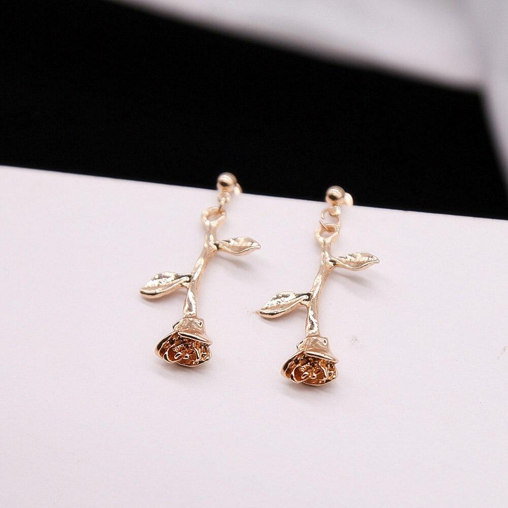 CARTER LISA Korea Romantic Rose Flower Earrings Charm Gold Color Rose Jewelry Metal Floral Drop Earrings For Women HLE0308000