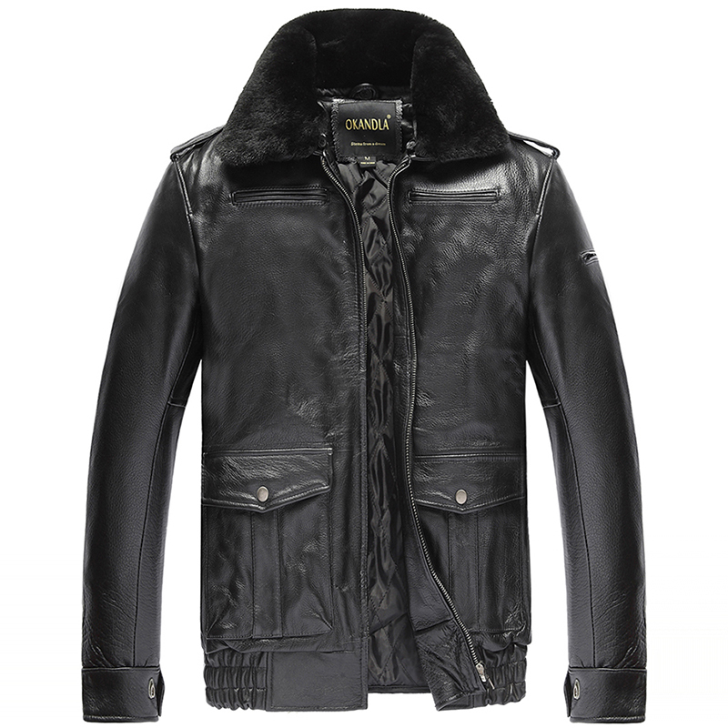 Free Shipping,Winter Warm Clothing,man Cowhide Jacket,men's Genuine Leather Jacket.thick Wool Fur Coat.plus Size Sales
