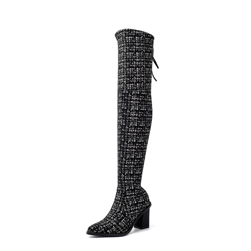 Image 2 - MORAZORA 2020 new arrival over the knee boots women pointed toe autumn winter high heels boots ladies party wedding shoes-in Over-the-Knee Boots from Shoes