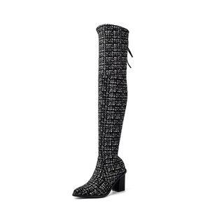 Image 2 - Женские сапоги выше колена MORAZORA, Черные Сапоги выше колена с острым носком, на высоком каблуке, осенне зимний сезон 2020