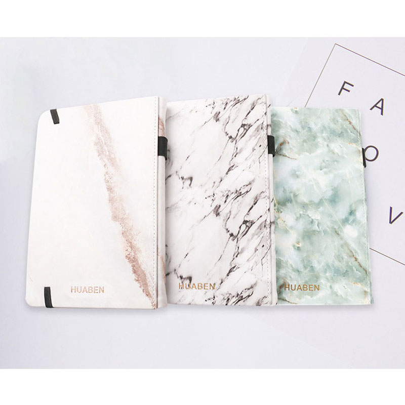 A5 Notebook Bullet Journal Marble Texture Leather Covered Handmade Planner Dotted 160 Pages 120 GSM, Pen Holder, Two Bookmarks