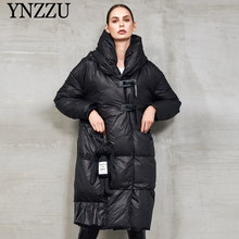 Black Hooded Women Long Down coat Winter 2019 New arrival Thick warm Female sleeve Fashion Outwear YNZZU 9O031