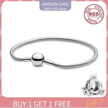 Hot Sale 100% 925 sterling silver bracelet for women Fit authentic original Pan Charm chain Snake bracelet classic DIY jewelry