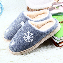 Winter Women Home Slippers Christmas Snowflake Plush Shoes Non-slip Soft Winter Warm House Slippers Indoor Bedroom Floor Shoes senza fretta women shoes winter warm indoor plush slippers cartoon home non slip cotton slippers cute soft women slippers shoes page 3