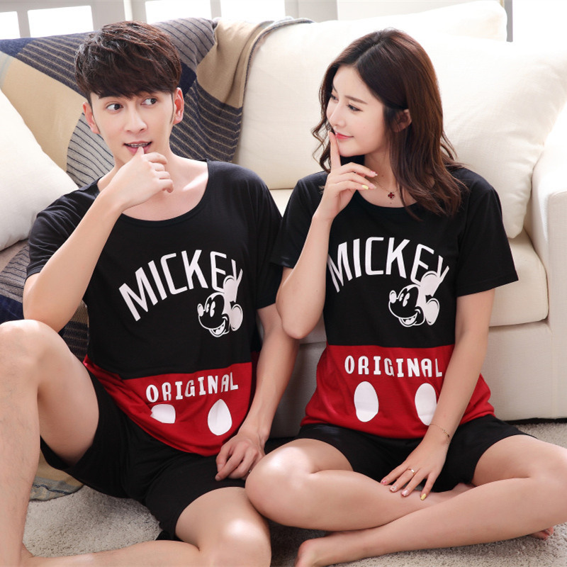 Woman Wear Leisure Home Clothes Personality 2020 Summer Cartoon Mickey Short Sleeved Couple Pajamas For Women Man Pyjamas Sets