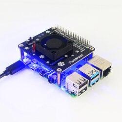 Raspberry Pi 4 wentylator GPIO karta rozszerzenia z niebieskie jasne światło LED kompatybilny dla Raspberry Pi 4B/3B +/3B/3A +