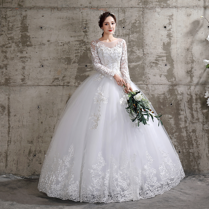 New Summer Korean Light Wedding Dress Vestidos De Novia Off White Bride O-neck Dream Princess Simple Long Sleeve Lace Appliques