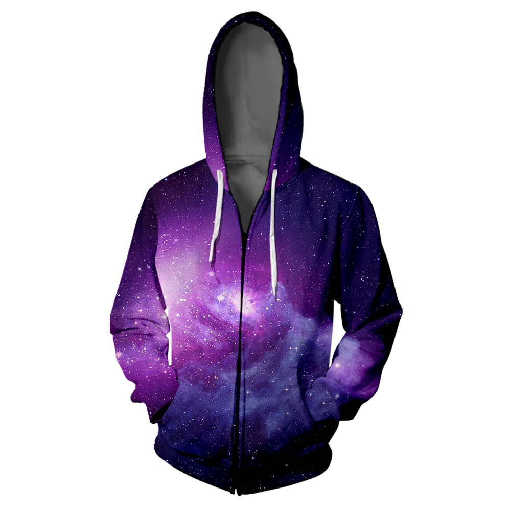 Starry Sky Colorful 3D Zipper Hooded Sweatshirt Fashion Women/Men Hoodie Galaxy Harajuku Casual Zippered Sweatshirts Clothes
