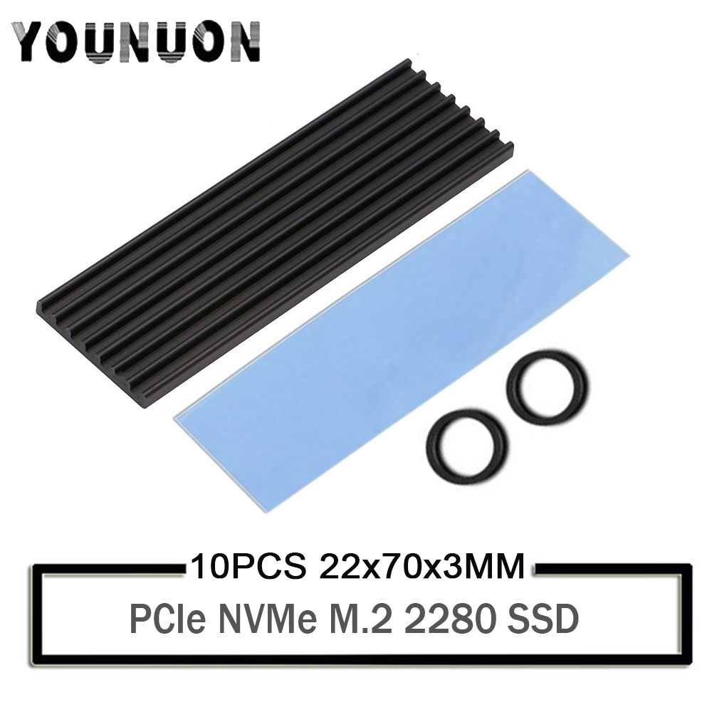 10PCS YOUNUON 70x22x3mm Heatsink Aluminum M.2 Cooling Cooler Heat Sink Thermal Pads For NGFF NVME PCIE 2280 SSD Hard Drive Disk
